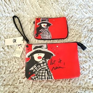 Izak Let It Rain Clutch and Chain Purse. NWT